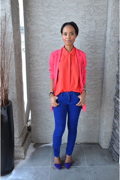 hot pink Dynamite blazer - blue joe fresh style pants