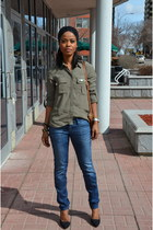 black African Fashion hair accessory - army green H&M blouse