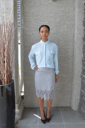silver lace Forever 21 skirt - light blue twik blouse