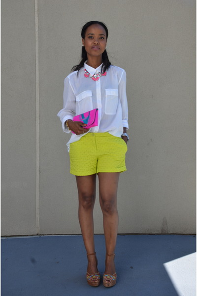 white Levis blouse - chartreuse Joe Fresh shorts - hot pink JCrew necklace