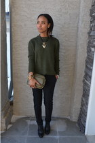 army green Zara sweater - army green Dynamite bag