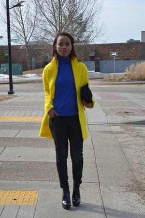 yellow Zara coat - blue Zara top
