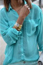 Teal-g21-jeans-teal-chiffon-garage-blouse