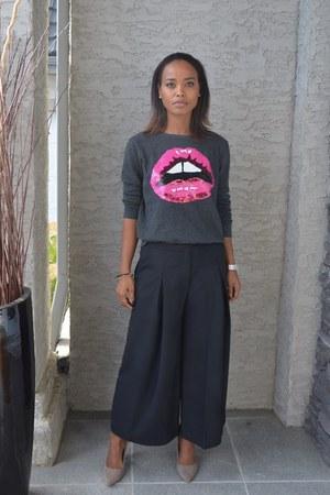 black polyester Jealous Tomato pants - Forever 21 sweatshirt