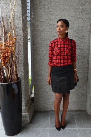 red Eddie Bauer shirt - black Zara skirt - black Christian Louboutin pumps