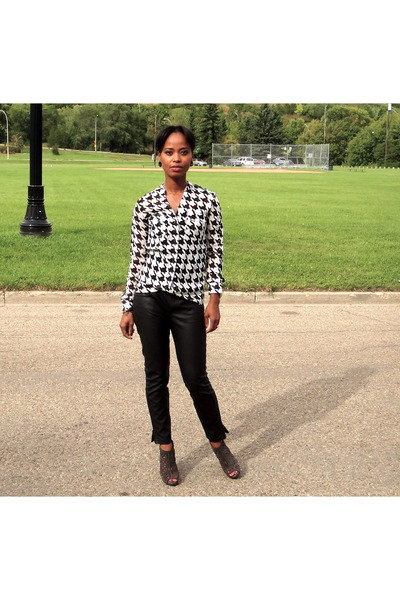 leather calvin klein boots - leather Forever 21 pants - chiffon Dynamite blouse