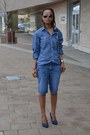 Light-blue-denim-shorts-gap-shorts-light-blue-denim-shirt-gap-skirt
