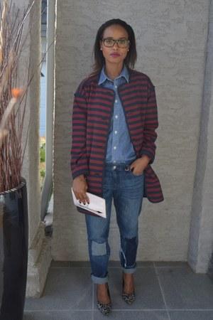 brick red Gap coat - blue denim Gap jeans