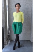 light yellow Gap jumper - green joe fresh style skirt