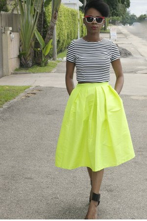 lime green Choies skirt - black Zara sandals