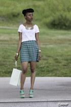 white print scotch and soda t-shirt - aquamarine perfurated material girl bag