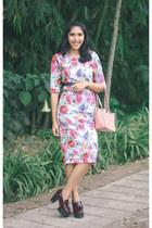 light pink Valentino bag - crimson shoes - floral print dress