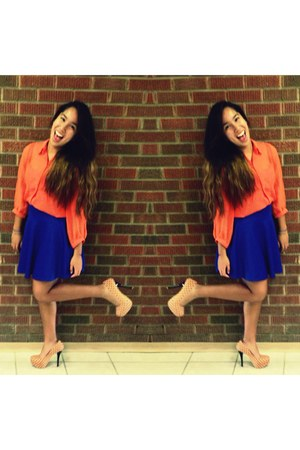 blue Urban Behaviour skirt - carrot orange blouse - peach Forever 21 heels
