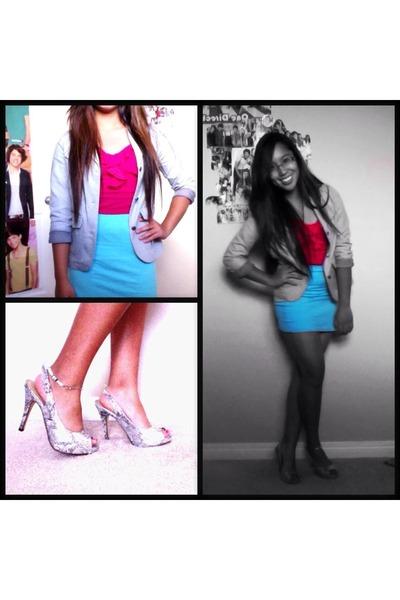 silver Mexx blazer - silver Spring heels - hot pink top - sky blue skirt