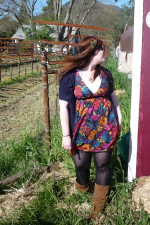 sweater - dress - tights - boots