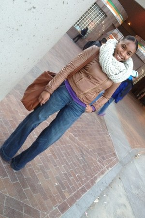 eggshell Urban Outfitters scarf - navy H&M jeans - camel Zara jacket