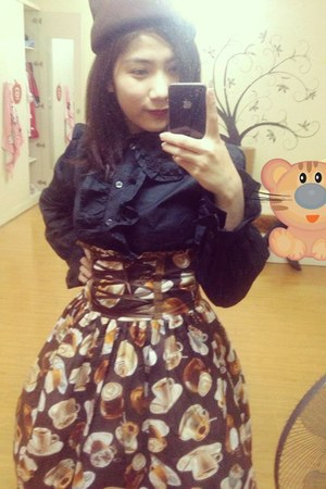 brown handmade dress - black Alice and the Pirates blouse