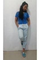 blue cotton Blowing Bubbles shirt - light blue pants