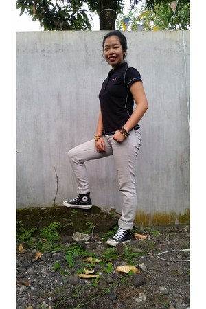 black collared shirt - silver Old Navy pants - black Converse sneakers
