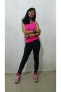 Hot-pink-sports-sassa-top-black-tommy-hilfiger-pants