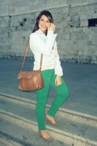 sky blue Zara jacket - white BLANCO shirt - brown Zara bag - green Zara pants