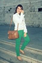 sky blue Zara jacket - white BLANCO shirt - brown Zara bag - green Zara pants