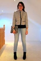black Primark boots - sky blue Zara jeans - charcoal gray Primark jacket