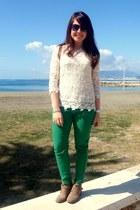 beige maximo dutti shirt - camel Pinkie boots - green Zara pants