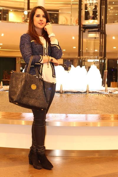 black Zara boots - navy Primark jacket - ivory Primark shirt