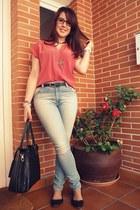 red BLANCO blouse - black BLANCO shoes - sky blue Lefties jeans