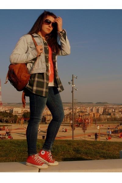 Zara t-shirt - red Converse shoes - sky blue Zara jacket - blue Zara pants