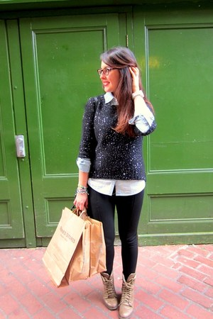 black Primark jumper - light brown Mustang boots - black Stradivarius leggings