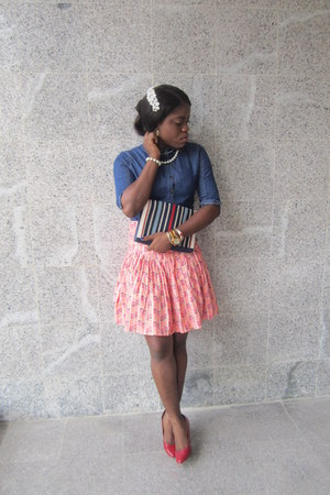 blue denim denim jeans - red pumps barratts shoes - next purse - tailored skirt