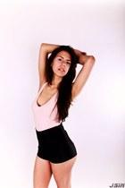 light pink American Apparel shirt - black American Apparel shorts