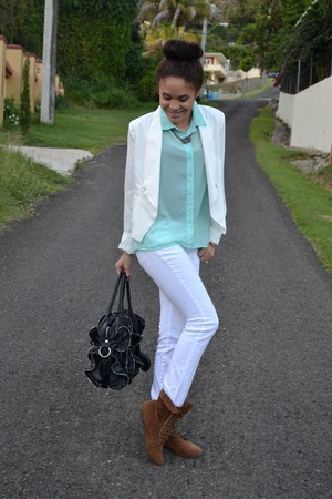 light blue Charlotte Russe blouse - black Steve Madden bag