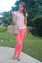 coral colored Charlotte Russe jeans - tawny DKNY bag - bronze JCrew flats