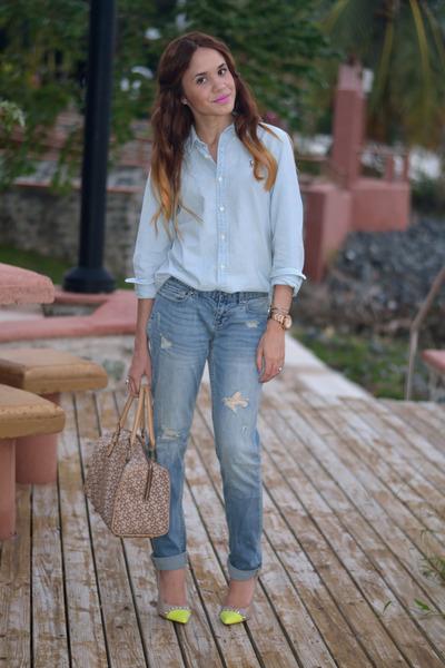 navy boyfriend jeans Aeropostale jeans - light blue chambray Ralph Lauren shirt