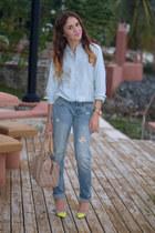 navy boyfriend jeans Aeropostale jeans - light blue chambray Ralph Lauren shirt
