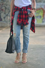 Light-blue-boyfriend-aeropostale-jeans-red-flannel-marshalls-shirt