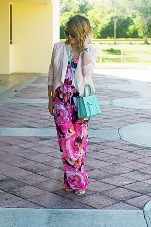 light pink Velvet Heart blazer - aquamarine Rebecca Minkoff bag