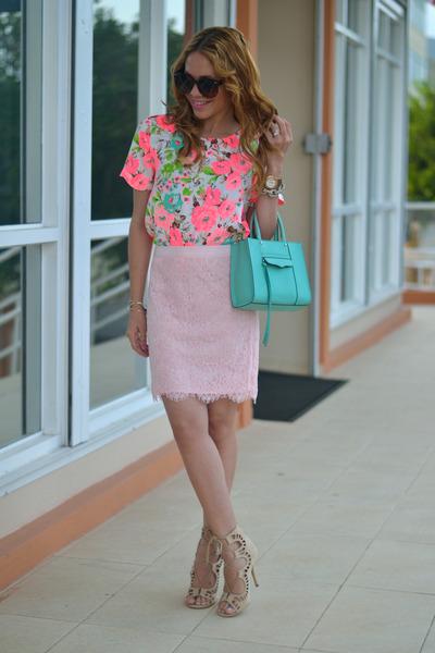 sky blue Rebecca Minkoff bag - light pink lace Forever21 skirt