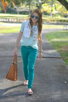 green Charlotte Russe jeans - tawny Marshalls bag - bronze bow JCrew flats
