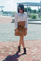 off white romwe top - tawny 579 skirt - black Schutz heels