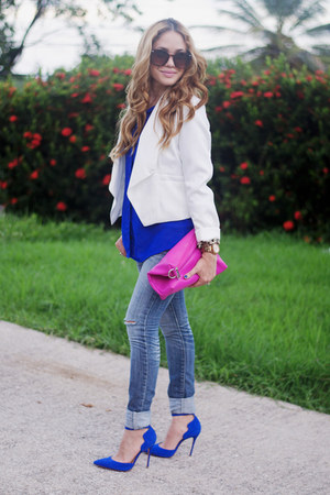 blue 579 shirt - white Burlington blazer - hot pink co-lab bag