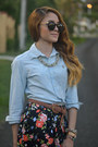 Light-blue-chambray-ralph-lauren-shirt-black-floral-marshalls-skirt