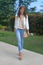 white Burlington blazer - light pink satchel Tignanello bag - cream JCrew top