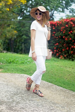 white ripped Marshalls jeans - light pink selma studded Michael Kors bag