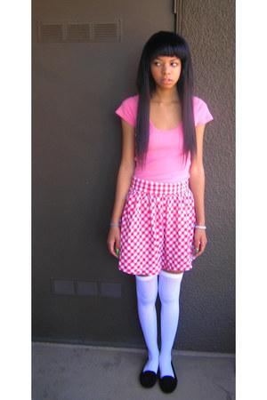 red Forever 21 skirt - bubble gum hollister shirt