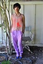H&M pants - Forever 21 top - blue suede Charlotte Russe heels