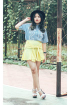white FLY shoes - sky blue ASK shirt - light yellow ASK skirt
